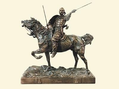 Русская старая бронза: Лансере, Князь Святослав, бронзовая статуэтка