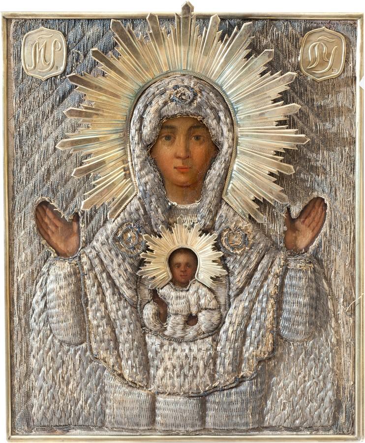 Антикварный Образ Пресвятой Богородицы Знаменской