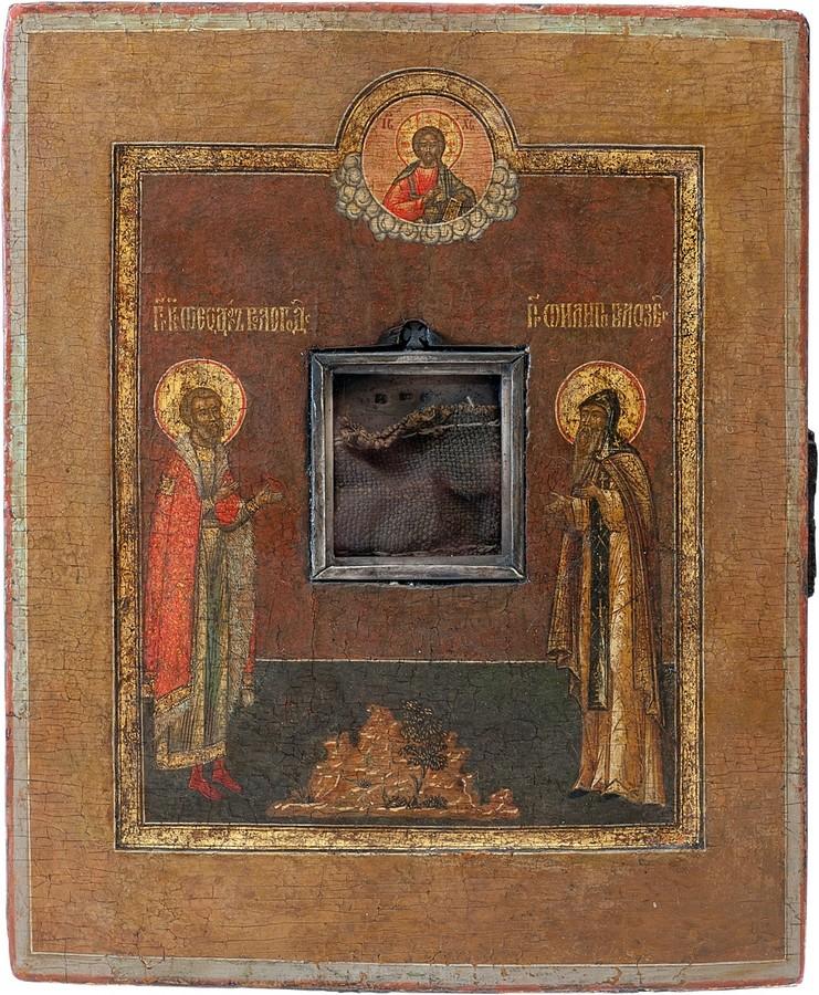 Антикварная Икона с Мощами Избранные Святые, антиквариат
