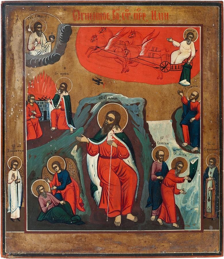 Антикварная икона Огненное Вознесение Пророка Ильи