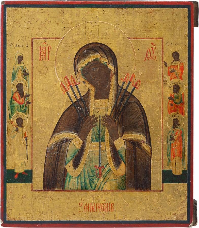 Антикварный Образ Пресвятой Богородицы Умягчение Злых Сердец
