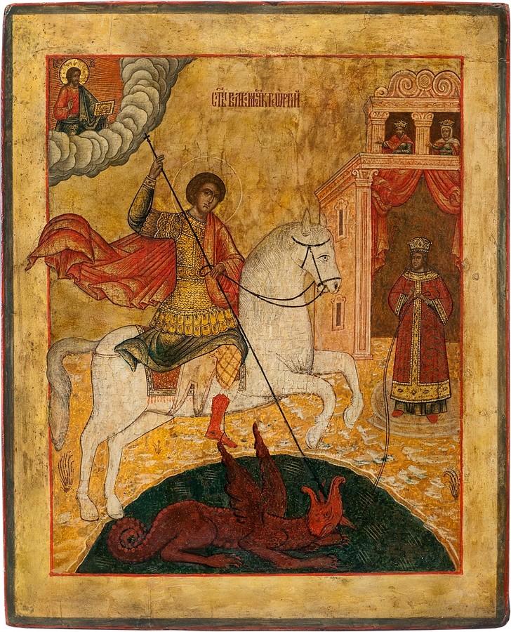 Антикварная икона Святой Великомученик Георгий-Победоносец