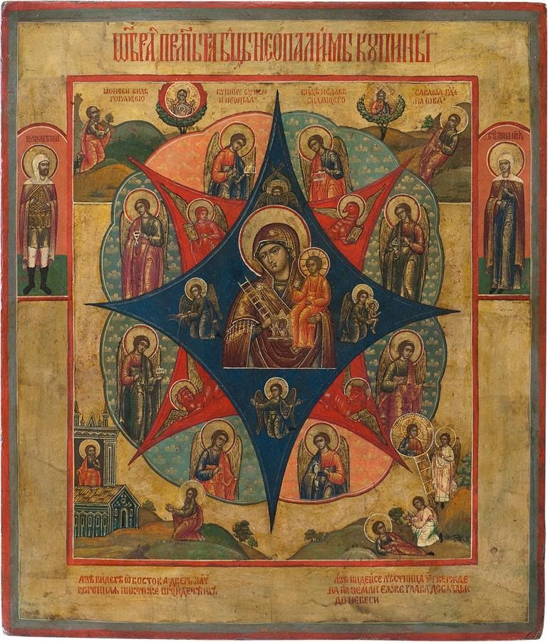 Антикварный Образ Пресвятой Богородицы Неопалимая Купина