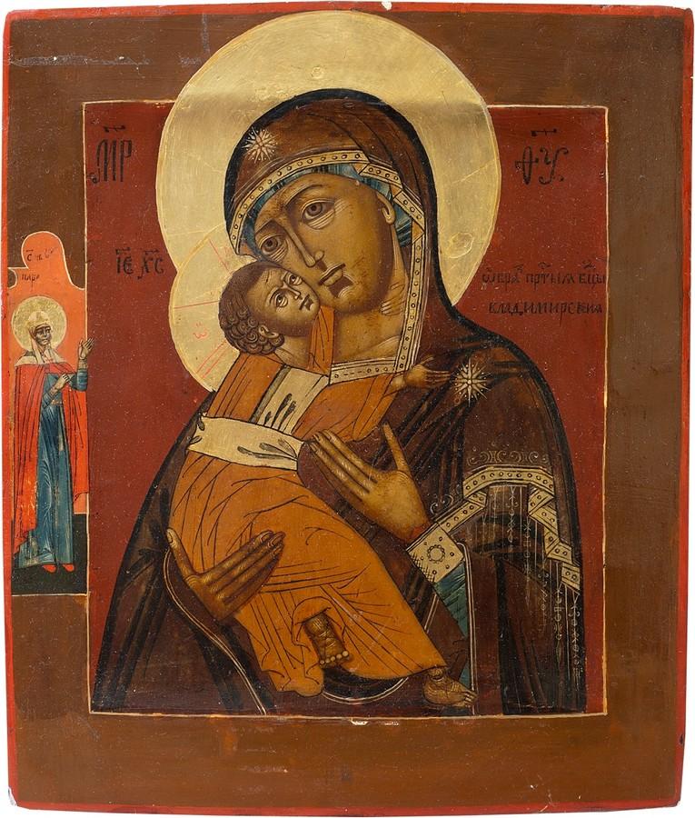 Образ Пресвятой Богородицы Владимирской с предстоящей Параскевой, антикварная икона, антиквариат