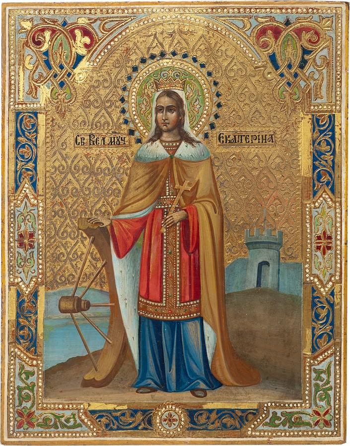 Антикварная Икона Святая Великомученица Екатерина, антиквариат