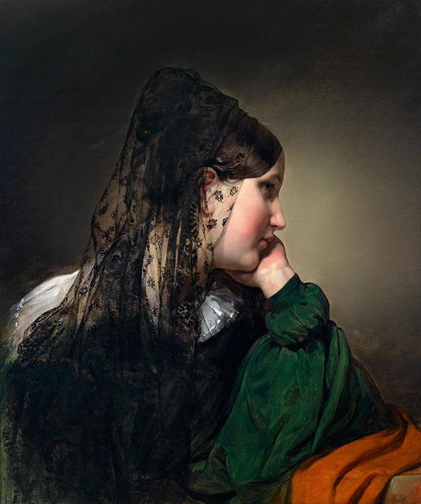 Friedrich von Amerling, Girl in profile, with black mantilla, estimate € 80.000 - 120.000