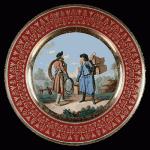 НЕ антиквариат - Современная реплика тарелки ИФЗ с изображением разносчиков обручей и корзин. С гравюры Х. Г. Гейслера