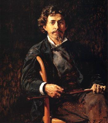 В.Д. Поленов. Портрет Ильи Репина, старинный портрет, старинные картины, старинная живопись